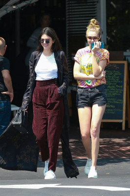 Gigi and Kendall Jenner out and about Los Angeles.
