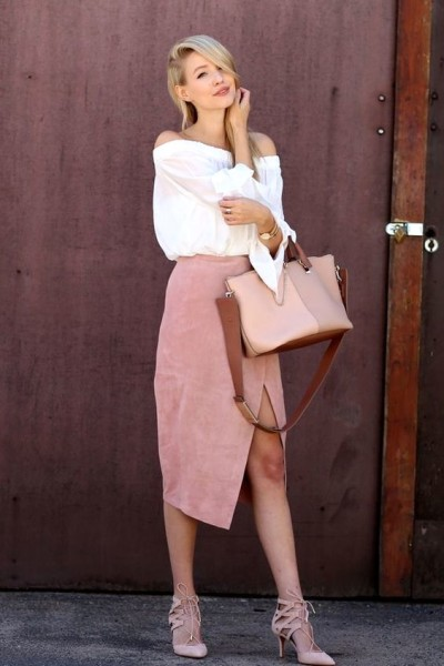 Off the shoulder top, suede pencil skirt, Chloé bag and Aquazzura heels.