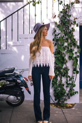 White off the shoulder crochet top.