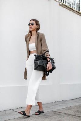 modern legacy fashion blog Australia street style ASOS camel boyfriend blazer Josh Goot white bandeau top culottes slide sandals