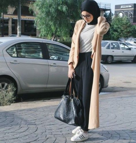 neutral long coat sporty hijab style