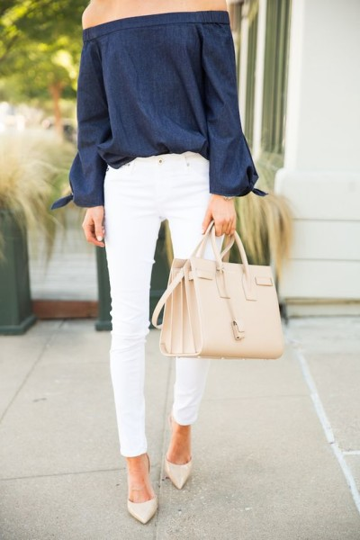 off shoulder top, skinny pants, and nude jimmy choo heels