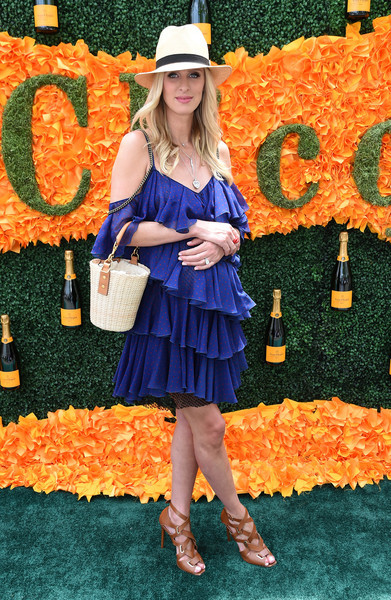Nicky Hilton went ultra girly in a mega-ruffled maternity dress for the Veuve Clicquot Polo Classic