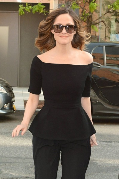 Rose Byrne arrived for her 'Late Show with Trevor Noah' appearance wearing oversized shades by Celine.