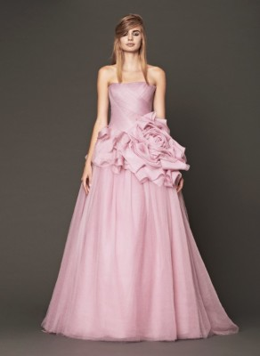 This full-on pink Vera Wang dress with a floral embellishment is definitely a nod to our Sleeping Beauty.