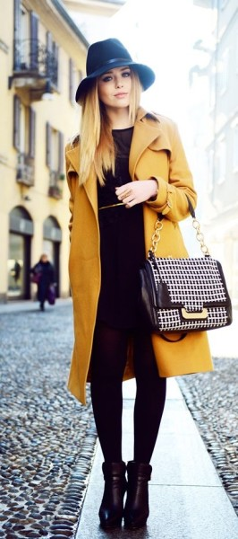 All black with a colored outer layer. A mustard trench like this is perfect for adding color to a simple look.