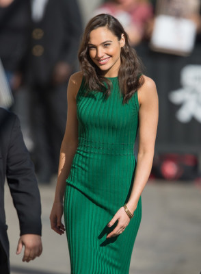 Gal Gadot paired gold bangles with a ribbed green tank dress for her visit to 'Jimmy Kimmel Live.'