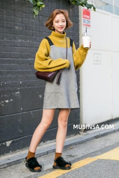 Mustard turtleneck and grey dress