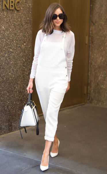 This all-white ensemble, consisting of Elizabeth and James overalls, is the perfect look to ring in the end of summer.