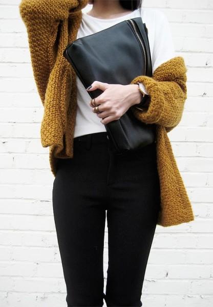 chunky knit sweater . black pants . white tee