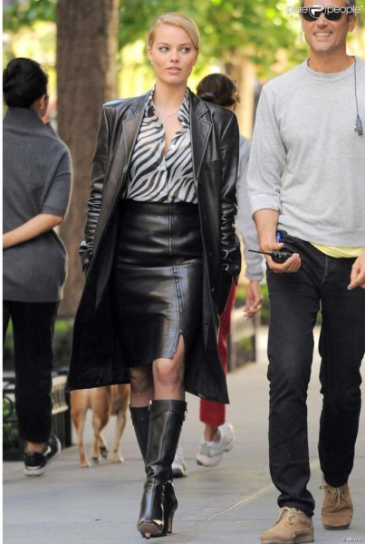 ere's Margot on set for the Wolf of Wall Street wearing a gorgeous outfit that consists of animal print and leather.
