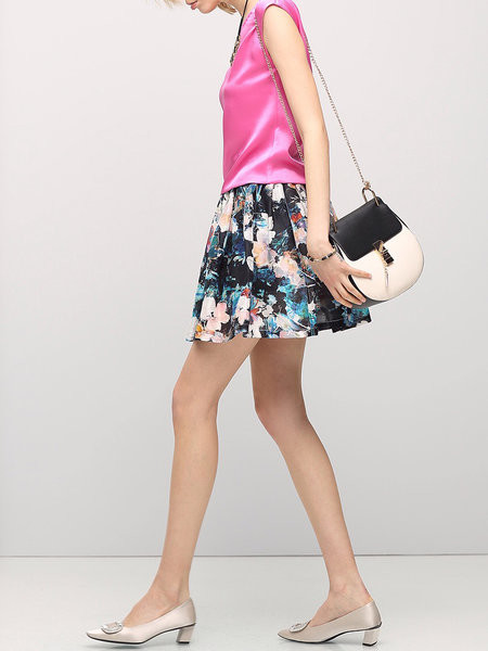 Black Floral-print Casual Mini Skirt