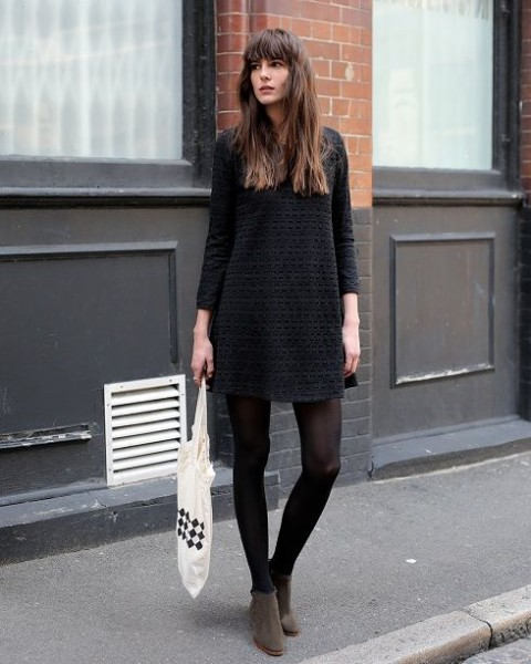Black dress, black tights, ankle boots, fall style