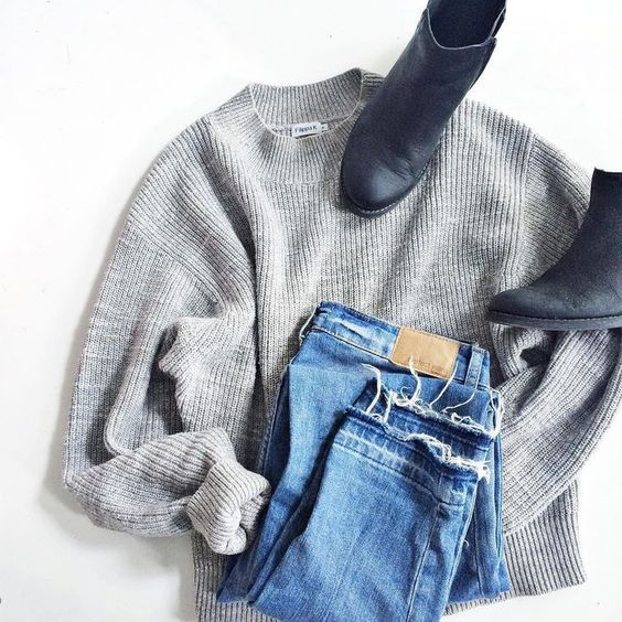 Boots + Sweater + Jeans.