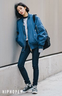 Can't go wrong with a blue bomber jacket and navy jeans.