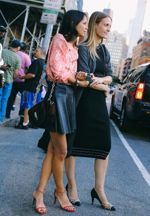 Melanie Huynh with an Altuzarra bag and Vanessa Traina in Chanel heels