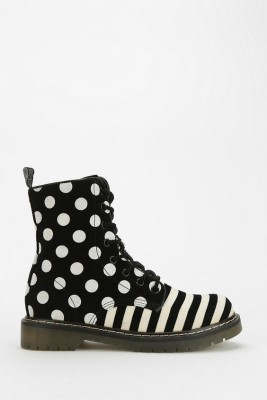 Polka Dot Stripe Lace-Up Boot black and white funky shoes