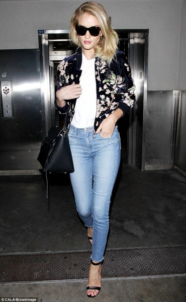 Rosie Huntington-Whiteley In Floral Bomber Jacket