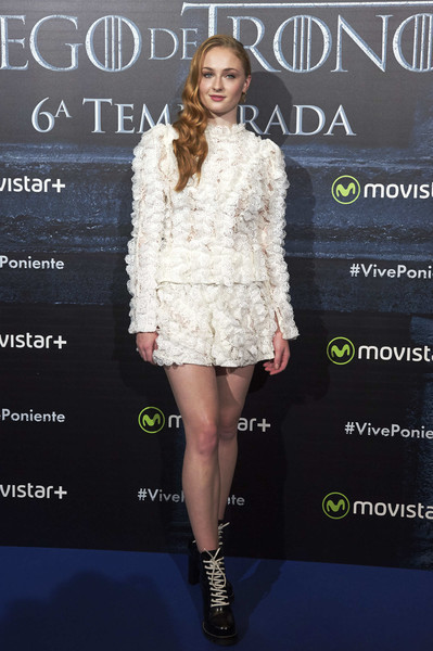 Sophie Turner Dress Shorts And Ruffle Blouse