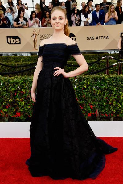 Sophie Turner Off-the-Shoulder Dress
