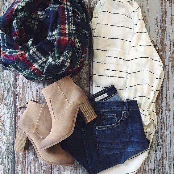 This outfit looks super cute! good mix of fall colors and styles, but not too dark overall.