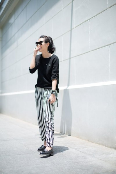Would normally think of liking striped trousers, but these have the perfect slouch.