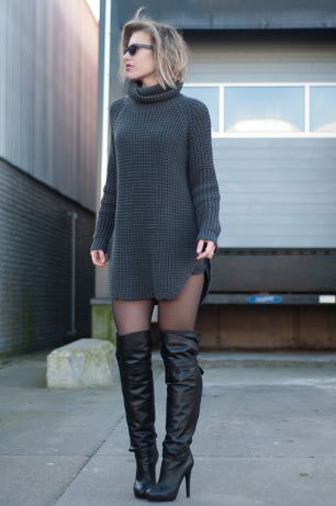 A turtleneck sweater dress is a fun and different play on the style.