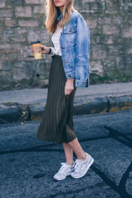 Another great way to style the pleated skirt is