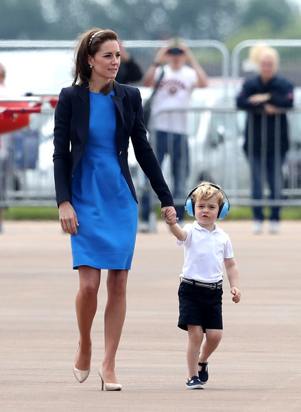 Kate Middleton was business-chic in an electric-blue Stella McCartney sheath paired with a navy blazer at the Royal International Air Tattoo event.
