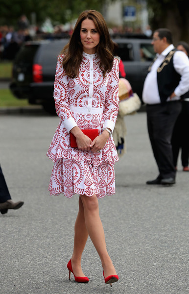 Kate Middleton was the picture of refined elegance in this white and red embroidered dress by Alexander McQueen while touring Canada.