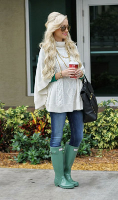 Paired with bright rain boots, a poncho keeps you dry and warm in the rainy weather