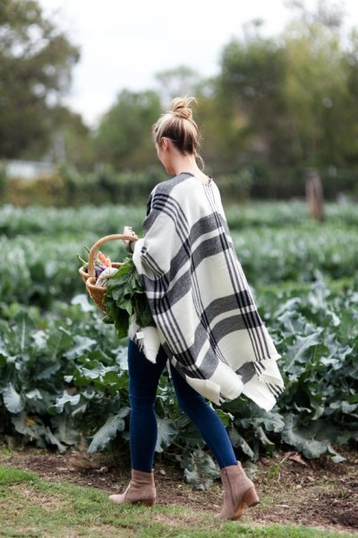 Plaid Poncho at Springdale Farm