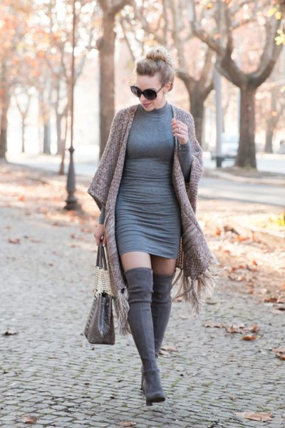fringe tassel poncho, gray sweater dress, Brahmin 'Corington' tote, Stuart Weitzman 'Highland' gray over the knee boots