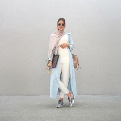 long blue pastel cardigan neutral hijab