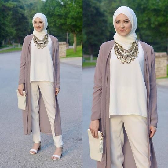 long cardigan pastel outfit, Classy hijab outfits