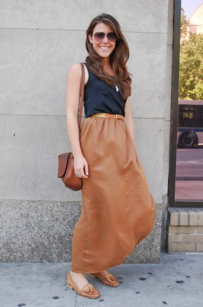 skirt-and-tan-loafers