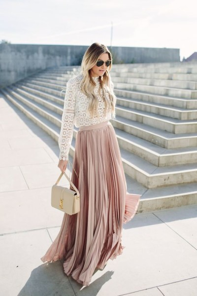 the gorgeous blush-pink of the pleated long skirt paired with the delicate white long-sleeve lace