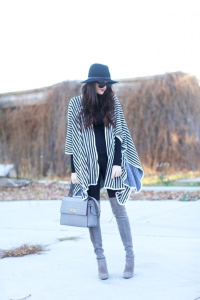 How to Style Outfit with Poncho You Should Try Now via pinkpeonies.com