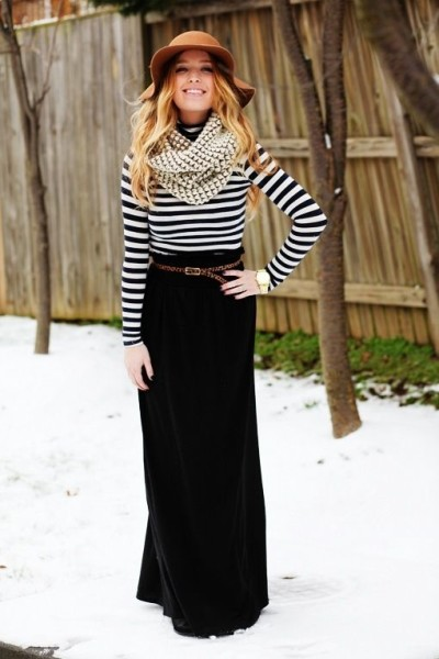 Casual Black Maxi Skirt