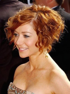 Curly A Line Short Bob Hair Cut
