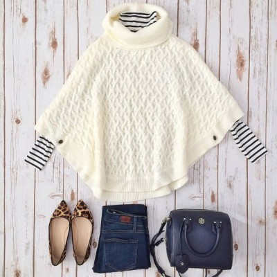 Forever 21 cable knit poncho and striped turtleneck