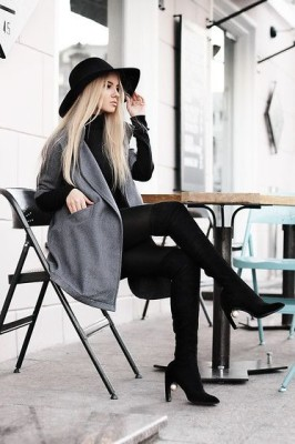 Gray woolen coat, a street style post from the blog Lookbook