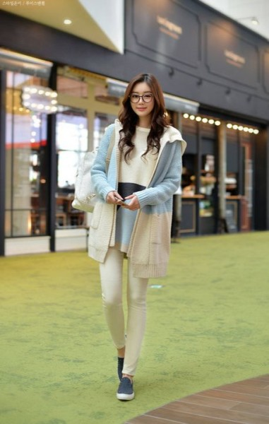 Hooded Open Front Two Tone Long Cardigan