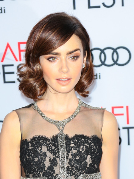Lily Collins showed off perfect curls at the AFI Fest premiere of 'Rules Don't Apply.'
