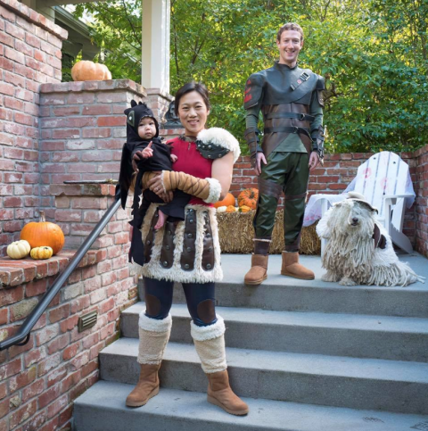 Mark Zuckerberg, Priscilla Chan, and their daughter Max - As characters from How to Train Your Dragon.