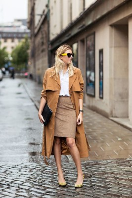 Worn long and boxy, a camel trench looks like it was borrowed it from a boyfriend.