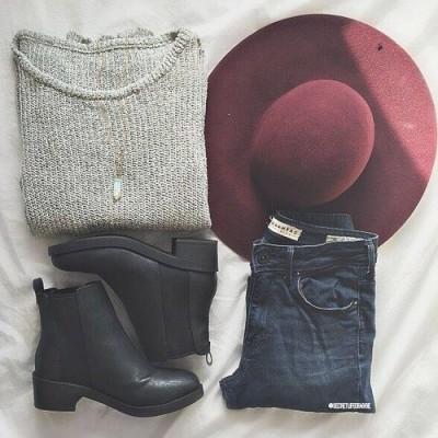 maroon hat + grey sweater + black booties