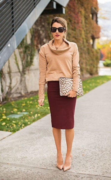 Beige Leather Pumps — Burgundy Pencil Skirt — Beige Leopard Leather Clutch — Tan Cowl-neck Sweater — Black Sunglasses
