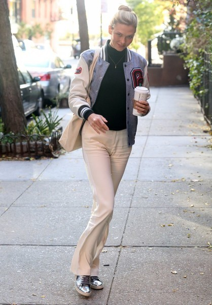 Karlie Kloss looked preppy in her Opening Ceremony varsity jacket while out and about in New York City.