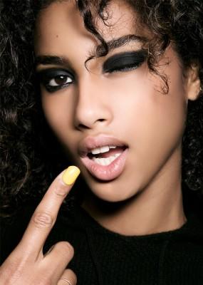 Matte Black Eyeshadow with Black Glitter Liner